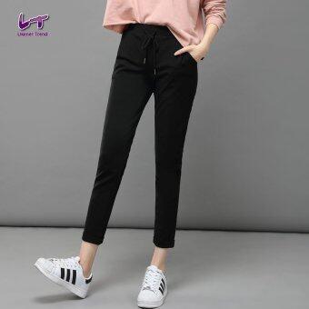 Likener Trend กางเกงฮาเร็มผู้หญิงนุ่มสบายเท้า - ความยาวกางเกง (สีดำ)