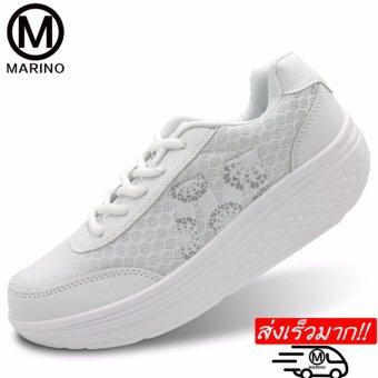 Marino รองเท้านักเรียน-นักศึกษาสีขาว รองเท้าผ้าใบ รองเท้าหนังแฟชั่น No.A012 - White