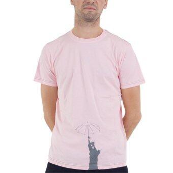 PHIL เสื้อยืดคอกลม ลายเทพีเสรีภาพกางร่ม - สีชมพู
