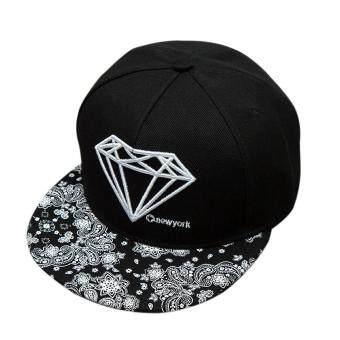 แฟชั่นหมวกเบสบอล Snapback เพศปรับได้ใส่หมวกฮิปฮอป (สีดำ)