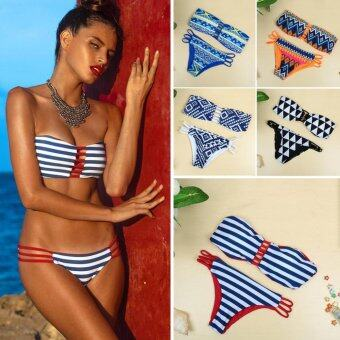 สาวเซ็กซี่บิกินี่เกาะอกเสื้อคล้องคอลายก้นเซ็ตตรงชายหาดอาบน้ำชุดว่ายน้ำชุดว่ายน้ำชุดน้ำเงิน-ในประเทศ