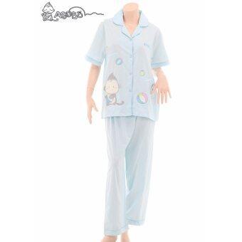 Asobo ชุดนอน เสื้อแขนสั้น - กางเกงขายาว (สีฟ้า)