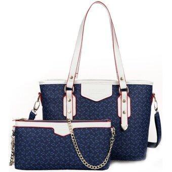 RichCoco กระเป๋าแฟชั่นเกาหลี + กระเป๋าสะพายข้าง เซ็ต 2 ใบ(สีกรม)
