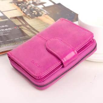 Koreaกระเป๋าสตางค์ผู้หญิง ใบสั้นมีช่องใส่เหรียญ หนัง รุ่นB099-9p(สีบานเย็น)