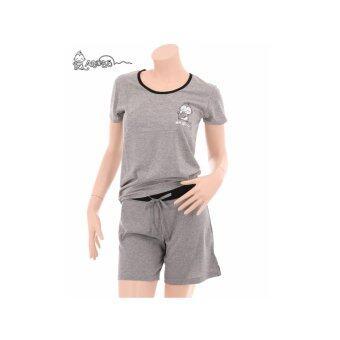 Asobo ชุดนอนเสื้อคอกลมหลังไขว้-กางเกงขาสั้น (สีเทา)
