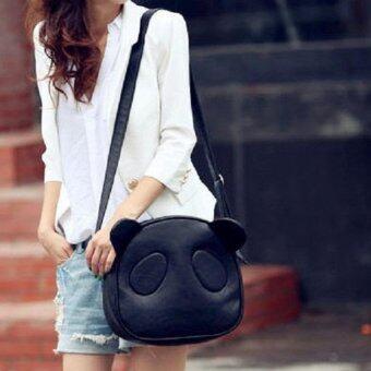 Bag Fashion กระเป๋าสะพายข้าง กระเป๋าทรงกลมรูปหมีแพนด้า รุ่น097 (สีดำ)