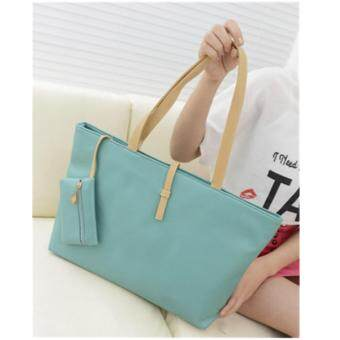 สินค้ายอดนิยม 2017 ใหม่หัวเข็มขัดกระเป๋าสะพาย PU กระเป๋าถือสุภาพสตรี กระเป๋าเดียว สีฟ้า ขายดี