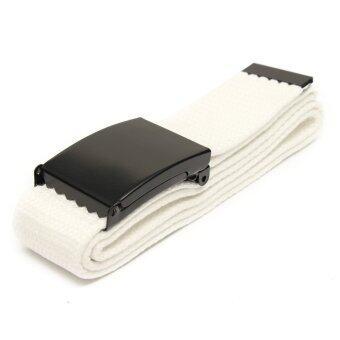 เพศหญิงชายขอบเรียบสายรัดเอวรัดเข็มขัดผ้าใบลำลองขาว