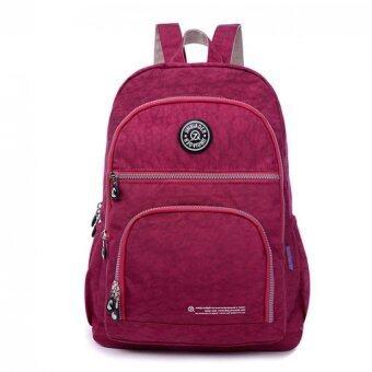 Coconie กันน้ำกระเป๋าเป้กระเป๋าสะพายกระเป๋านักเรียนท่องเที่ยวไนล่อนกระเป๋านักเรียนสีแดงจัดส่งฟรี
