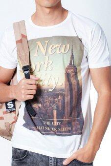 5th Avenue เสื้อยืดคอกลม The City That Never Sleeps Front Print (White)