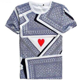 ไพ่โป๊กเกอร์เก่งคุณภาพหัวใจแขนสั้นคอกีฬาบอลชายรอบ 3d เสื้อยืด