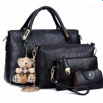 meet เซ็ต4ใบ กระเป๋าแฟชั่นเกาหลี+กระเป๋าสตางค์ผู้หญิง+กระเป๋าสะพายข้าง+พวงกุญแจหมี(สีดำ)