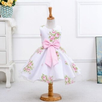 Harga Girl Wedding Dress Skirt Poncho Skirt Girls Printed Princess Skirt High Fashion Show Costumes - Pink - intl