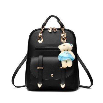 B'nana Beauty กระเป๋าเป้สะพายหลัง กระเป๋าเป้เกาหลี กระเป๋าสะพายหลังผู้หญิง backpack women รุ่น GB-04 (สีดำมีตุ๊กตา)