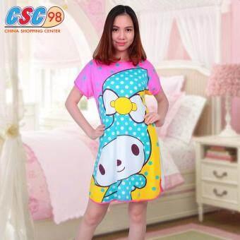 ชุดนอนเดรสกระโปรงผ้ายืด ใส่สบายลายกระต่ายสีชมพู เป็นชุดใส่เล่นได้