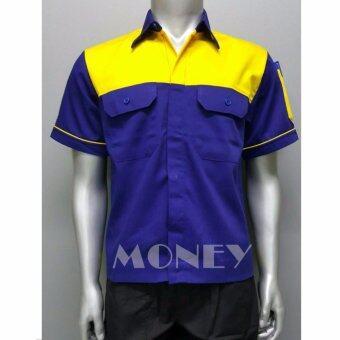 เสื้อช่าง เสื้อเชิ้ตทำงาน แขนสั้น size M รอบอก 42 นิ้ว
