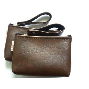 Goods24 กระเป๋าใบเล็ํก กระเป๋าใส่เหรียญ กระเป๋าใส่บัตรสีน้ำตาลเข้มรุ่นมีสายหิ้ว 1คู่