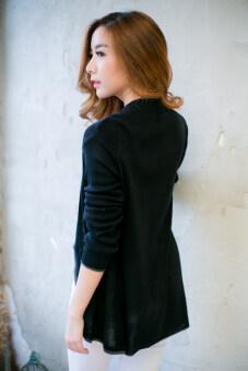Wanwankloset เสื้อคลุมไหมพรมตัวยาว ตกเเต่งกระดุมที่คอ (image 3)