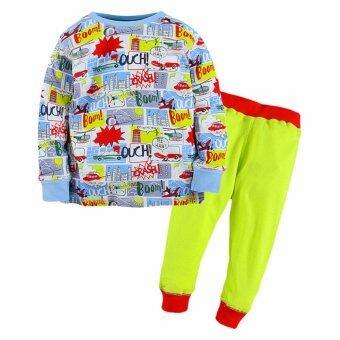 ชุดนอนเด็ก Little Maven เสื้อแขนยาว กางเกงขายาว ลาย BOOM ฟ้าเขียว ไซต์ 80-130 # 80025