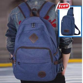 Peimm Modello Canvas Smart Bag กระเป๋าเป้สะพายหลัง + กระเป๋าสะพายพาดลำตัว กระเป๋าคาดอก สไตส์เกาหลี
