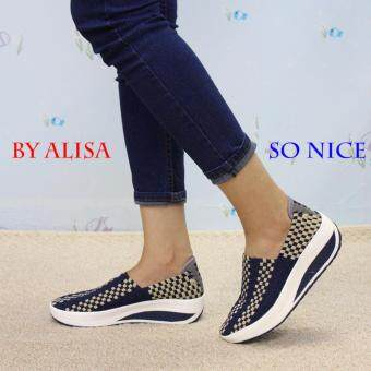 Alisa Shoes รองเท้าสปอร์ตแฟชั่น รุ่น HR046 Navy Beige