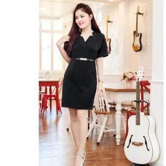 Pitchaya ชุดเดรสสีดำสวยเก๋เนื้อหนา de502(สีดำ)