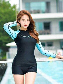 Diana Kiss ชุดว่ายน้ำแขนยาว Heart Cool (สีดำ)