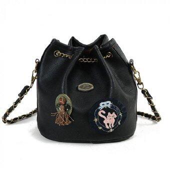 Bag Fashion กระเป๋าสะพายข้างแฟชั่น ทรงขนมจีบสายโซ่ถัก(สีดำ) รุ่นjpg