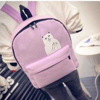 Open กระเป๋าเป้สะพายหลังแฟชั่น สกรีนลายแมว รุ่น019 (สีม่วง)