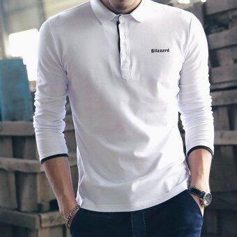 แฟชั่นผู้ชายแขนเสื้อโปโลลำลองแบบผ้าขาว