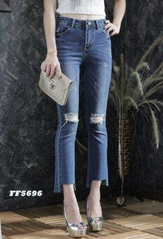 Platinum Fashion กางเกงยีนส์ขายาวเอวสูง ทรงขาม้า แต่งขาด รุ่นFF5696