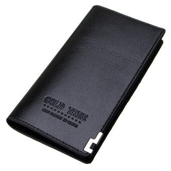 กระเป๋าสตางค์แฟชั่นแบบพับครึ่งแผ่นคลัตช์พวกบัตรเครดิตยึดเงินเหรียญร้อนสีดำ