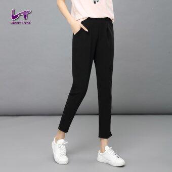 Likener Trend สบายเท้า - ความยาวกางเกงไซส์พิเศษกางเกงฮาเร็ม (สีดำ)
