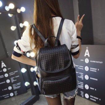 Peimm Modello Fashions กระเป๋าสะพาย กระเป๋าเป้ เป้สะพายหลัง PU ลายสาน สไตส์เกาหลี