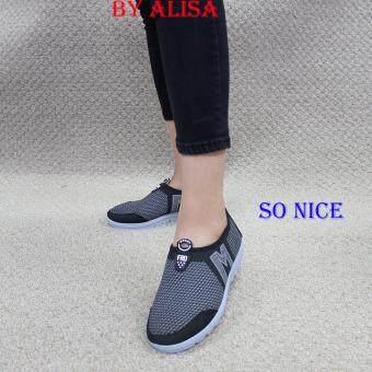 Alisa Shoes รองเท้าผ้าใบแฟชั่น รุ่น 99Q009 Black
