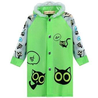 Harga 2016 Students Funny Cat Print Rain Coat Poncho (Green/White)