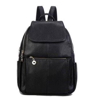 Stmartshop Fashion Bag กระเป๋าเป้สะพายหลังหนัง รุ่น 197 (สีดำ)