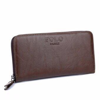 TOP CLASS กระเป๋าใส่เช็ค กระเป๋าเงินใบยาว ซิปรอบ รุ่น POLO FANKE (สีน้ำตาล)