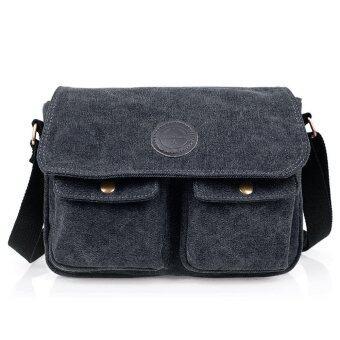 กระเป๋าผู้ชายกระเป๋าท่องเที่ยวนำผ้าใบสีดำ