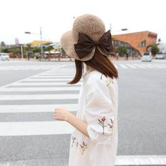 KPshop หมวกแฟชั่น หมวกมีปีก หมวกเที่ยวทะเล รุ่น LH-017 (สีน้ำตาล)