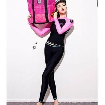 Dolly ชุดว่ายน้ำพรีเมียม (เสื้อแขนยาว+กางเกงขายาว+กางเกงชั้นใน) (สีดำ-ชมพู) รุ่น 819