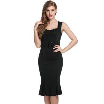 ไซเบอร์ ANGVNS เสื้อทรงผู้หญิงผอมบางเซ็กซี่ Bodycon ปาร์ตี้แต่งตัวลำลองมิดิ (สีดำ)