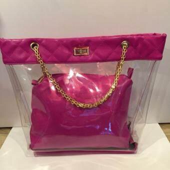 กระเป๋าถือแบบใส รุ่น V5362 (สีชมพูเข้ม)