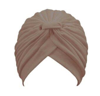Leegoal สตรีผ้ายืดพันเคล็ดผ้าจีบสวมหมวกผมซัน (สีเบจ)