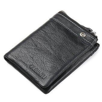 กระเป๋าสตางค์ซิปหนีบหนังผู้ชายหมายเลขบัตรเครดิตตราเงินเหรียญพับครึ่งคลัตช์ (แนวตั้ง)