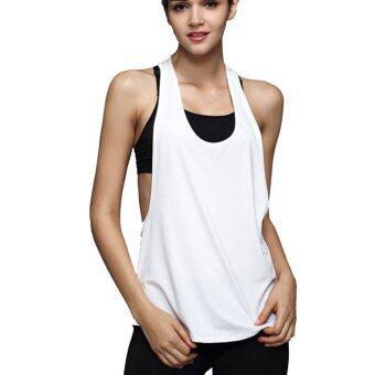 ร้อนแห้งแบบผู้หญิงถังปล่อยแขนเสื้อยืดเสื้อกีฬาออกกำลังกายห้องออกกำลังกายสำหรับวิ่งเสื้อขาว