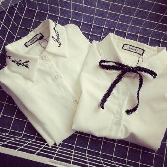 Mod เสื้อเชิ้ตใส่ทำงาน (สีขาว) รุ่น 015-514(คอเสื้อผูกโบว์)