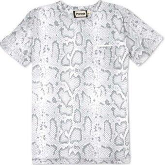 COOLLISION PORTRAIT เสื้อยืดพิมพ์ลายกราฟิค ลายเกร็ดงูขาว