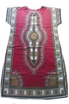 ชุดนอน MAXI กระโปรง คอตตอนยาว มูมู่ สำหรับคนรูปร่างใหญ่ เกิน 100-160 Kg. (สีแดงทับทิม)