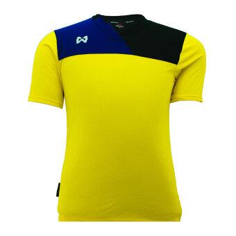 WARRIX SPORT เสื้อฟุตบอลพิมพ์ลาย WA-1505 สีเหลือง